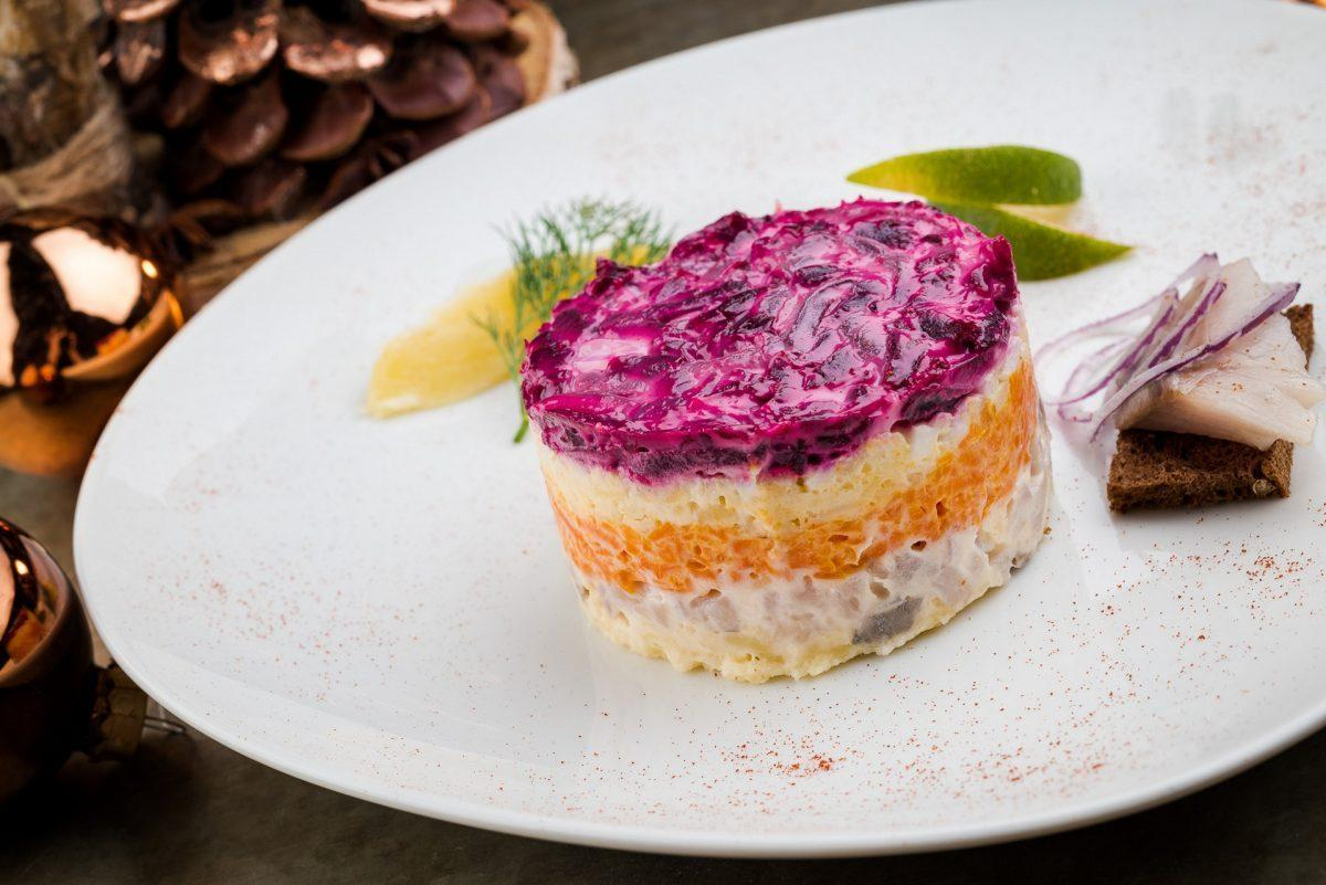 Russian cuisine: Traditional Russian dishes. Herring under the fur coat